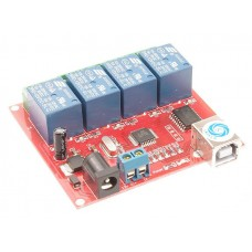 4-Channel 12V Relay with USB Programmable Computer Control