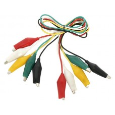 Insulated alligator 25mm clips, cable 50cm, 10pcs