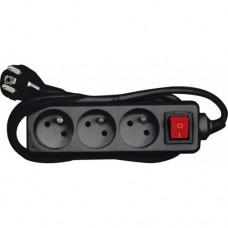 Extension cord 3m x 3 sockets with ground connection and switch, black