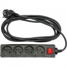 Extension cord 1.5m x 4 sockets with ground connection and switch, black
