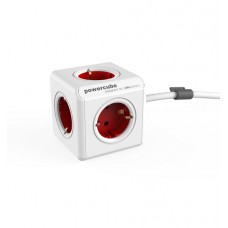Extension Cord 3m PowerCube Extended 5 Sockets (Red)