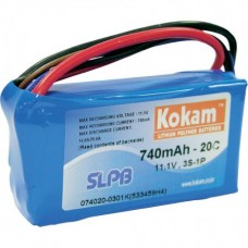Rechargeable battery 11.1V 740mAh 58.5x33.5x15mm Li-Polymer
